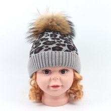 New children's braid hair ball knitted wool hat Children Winter Warm Real Fur Pompon Cap Kids Fur Pompom Caps Boys Girls Hats(China)