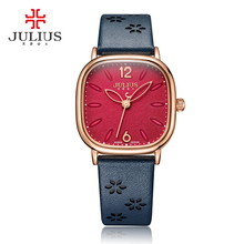 Lady kobiet oglądać japonia Quartz godziny zegar dzieła moda sukienka bransoletka prawdziwe skórzane duży kwadrat prezent urodzinowy dla niej Julius 970