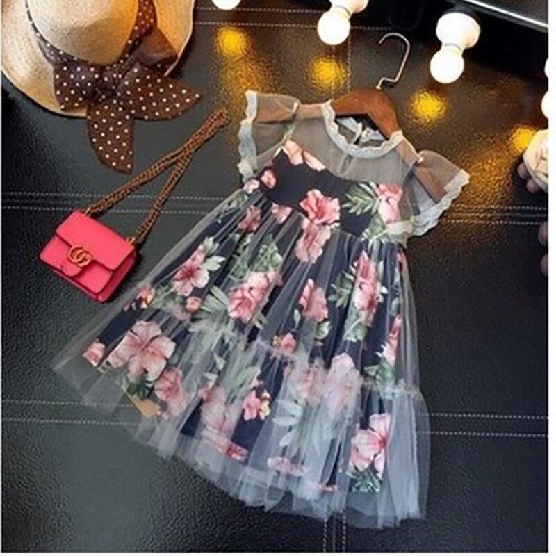 Lace Floral Stitching Girls Dress For Children Dream Princess Dress 2020 Summer Girls Party Dresses Kids Fashion Dress