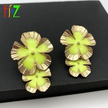 F.J4Z Brand Flower Earrings Beautiful Petals Drop Earring Womens Statement Cocktail Bijoux Dropship Jewelry