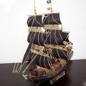 Pirate Ship Shape Black Pearl Paper Material Model For Military Fan Exquisite Gift Handmade DIY Model