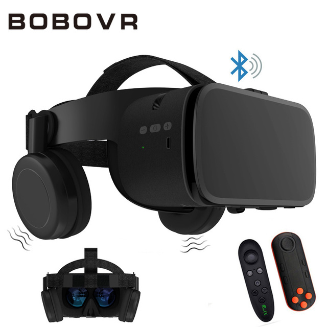 BOBO نظارات الواقع الافتراضي VR Z6 المزودة بتقنية البلوتوث ، وسماعة رأس استريو لاسلكية ثلاثية الأبعاد لهواتف iPhone و Android