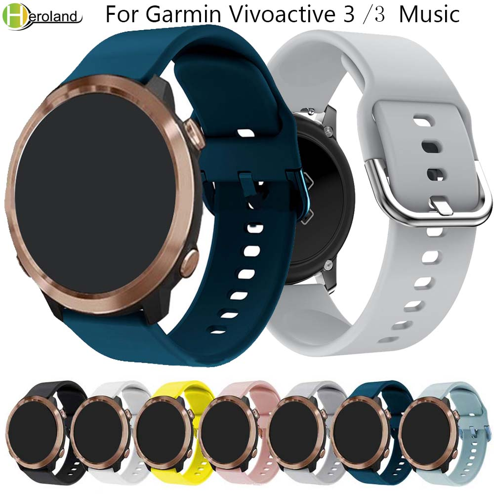 20mm Watch Strap For Garmin Vivoactive 3 Music/Vivoactive HR/vivoactive 3/Forerunner  645 245 245M Sport Silicon Smart Wristband