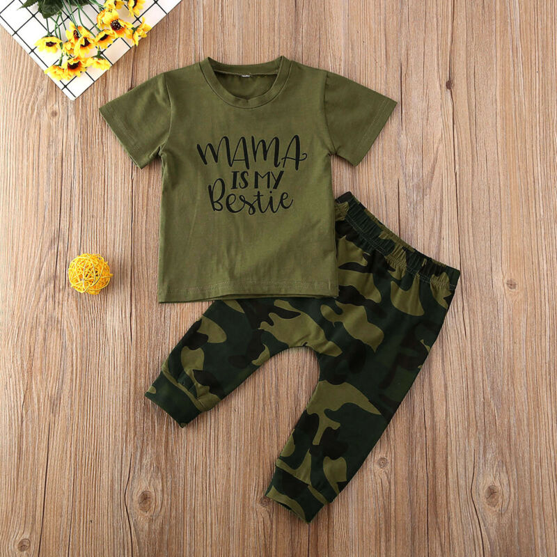 6M-3Years Newborn Baby Boy Girl Camo Outfit T-shirt Top Pants Trouser Tracksuit Clothes