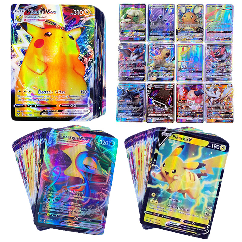 TOMY – Cartes du jeu de bataille Pokémon en version française, 300 pièces, jouet d'échange entre enfants, GX VMAX, disponible en brillant,