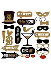 2020 New Year's Eve Party Card Masks Photo Booth Props Supplies Decorations Party Supplies стоимость