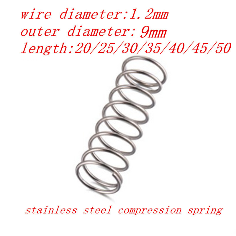 1.2mm Cable Diameter 9mm Outside Diameter 50mm Length Compression Spring Black 10pcs