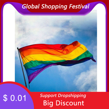 Rainbow Flag Colorful Rainbow Peace Flags Lesbian Gay Parade Flags Banner LGBT Pride LGBT Flag Home Decoration 3 sizes #OW image