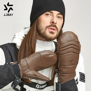 Genuine Goat skin Leather Ski Mittens LDSKI Dragoon Snowboard Gloves thermal lining protective padded leather nature grabbing