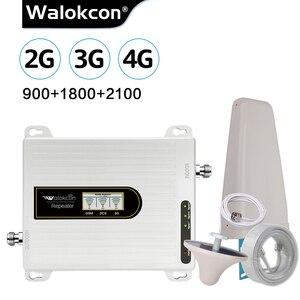 Image 1 - Walokcon Tri Band Amplificador 900 1800 2100 GSM DCS WCDMA 2G 3G 4G LTE Sinal De Reforço 900/1800/2100 celular Repetidor Celular @ 1