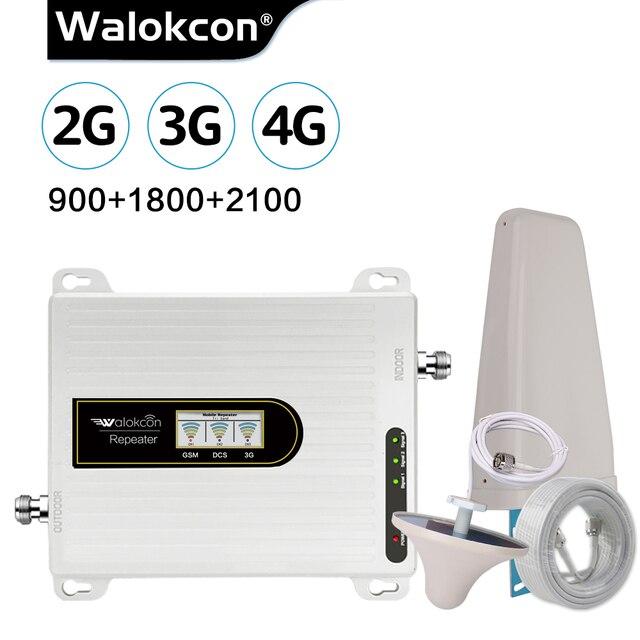 Walokcon Tri Band Amplificador 900 1800 2100 GSM DCS WCDMA 2G 3G 4G LTE Sinal De Reforço 900/1800/2100 celular Repetidor Celular @ 1