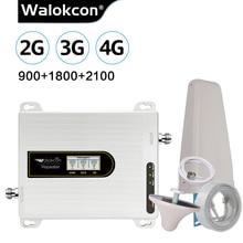 Wzmacniacz tri band Walokcon 900 1800 2100 GSM DCS WCDMA 2G 3G 4G wzmacniacz sygnału LTE 900/1800/2100 telefon komórkowy Repeater @ 1