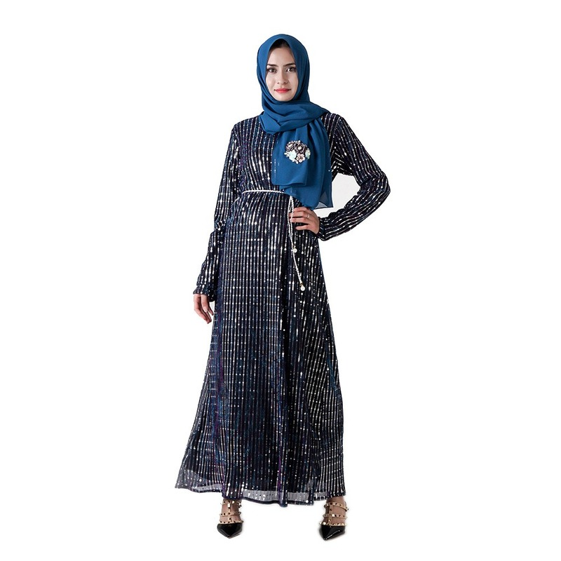 Paillettes noir Abaya Robe Femme dubaï Islam musulman Caftan Caftan Abayas pour femmes Ramadan Qatar Omani Elbise robes vêtements