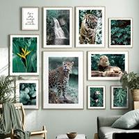 Cuadro sobre lienzo con hojas de guepardo y Tigre, cuadro sobre lienzo para pared, carteles nórdicos e impresiones de imágenes de pared para decoración para sala de estar