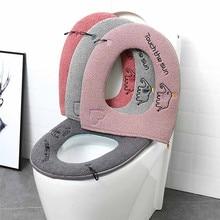 Домашняя зимняя плюшевая мягкая накладка на сиденье для унитаза, чехол на сиденье для унитаза на молнии с ручкой, чистящая ванная комната, аксессуары для унитаза@ 5