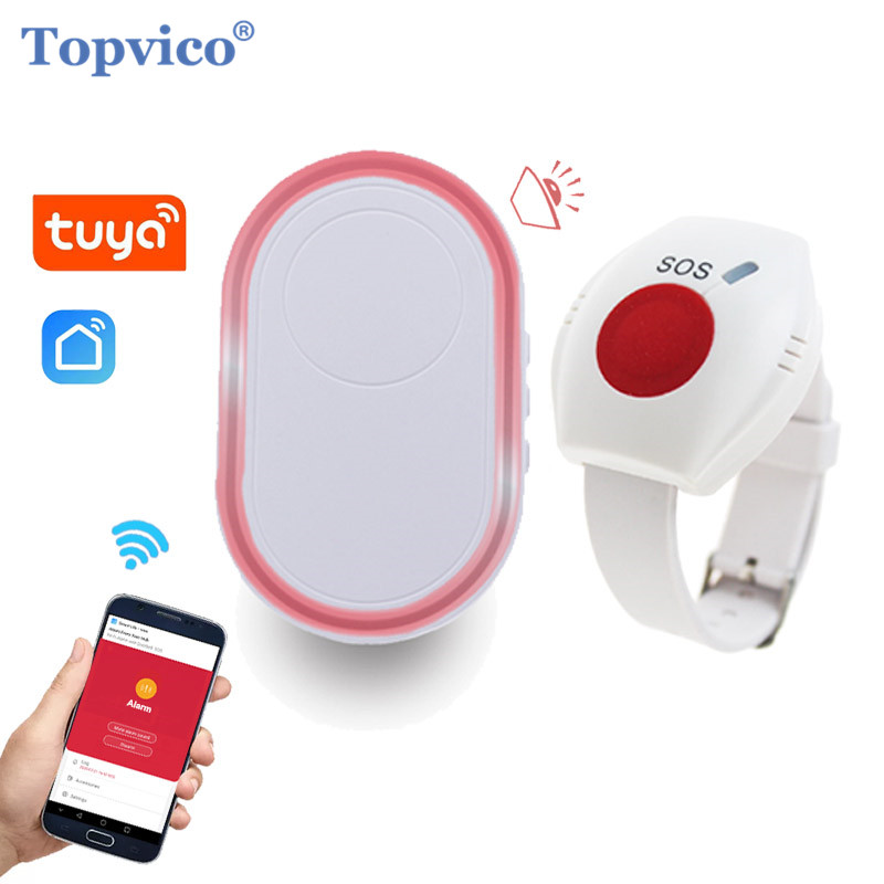 Topvico WIFI Panic Button for Elderly Alarm RF 433mhz SOS Bracelet Emergency Wireless Watch Call Old People Android IOS APP