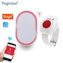 Topvico wifi botão de pânico para idosos alarme rf 433mhz sos pulseira emergência relógio sem fio chamada idosos android ios app