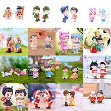 Resina de PVC DIY Mini taburete parejas de muñecas de hadas miniaturas de jardín, decoración de casa de muñecas/terrario figuras de acción figura Micro paisaje
