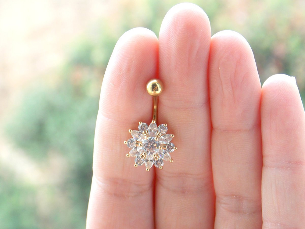 Hcb9fe6c40b2f4e12a36b3c089fc33a51X Navel Piercing Body Jewelry Crystal Flower Belly Button Ring