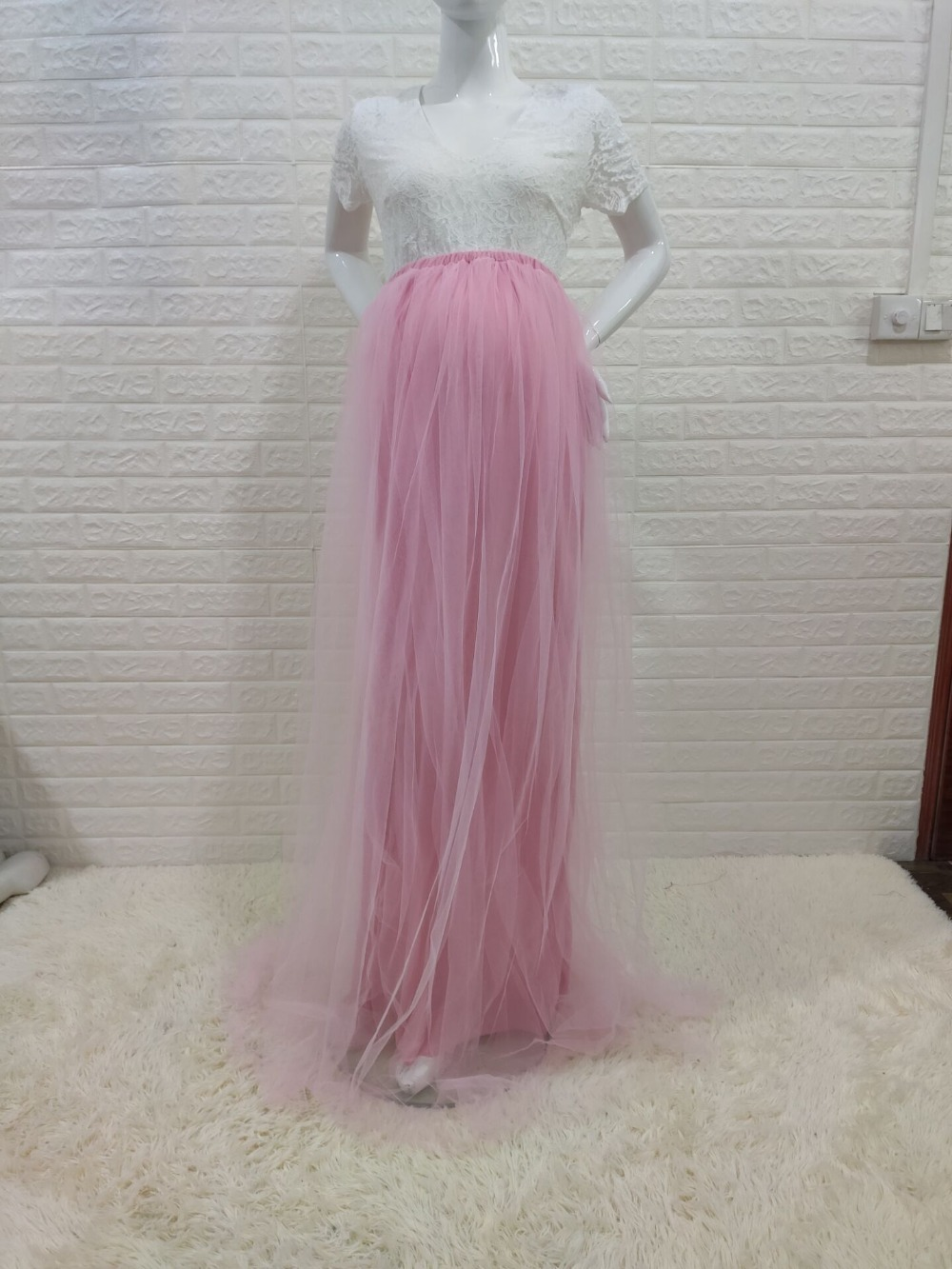 New Lace Maternity Photography Props Long Dress Cute Pregnancy Dresses Mesh Pregnant Women Maxi Gown For Baby Shower Photo Shoot (6)