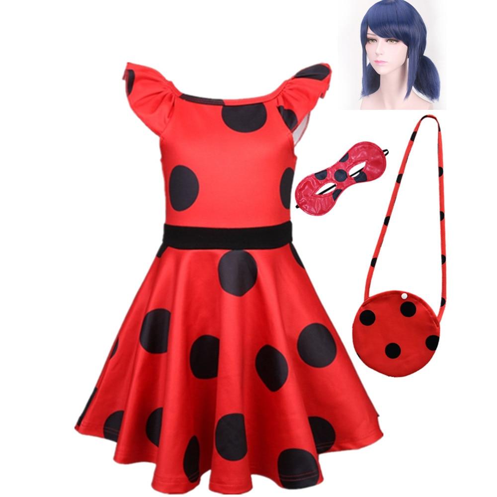 Fantasia Spandex Ladybug Costumes Kids Dress Cosplay Christmas Party Girls Children Lady Bug Zentai Suit Halloween Costume Wig