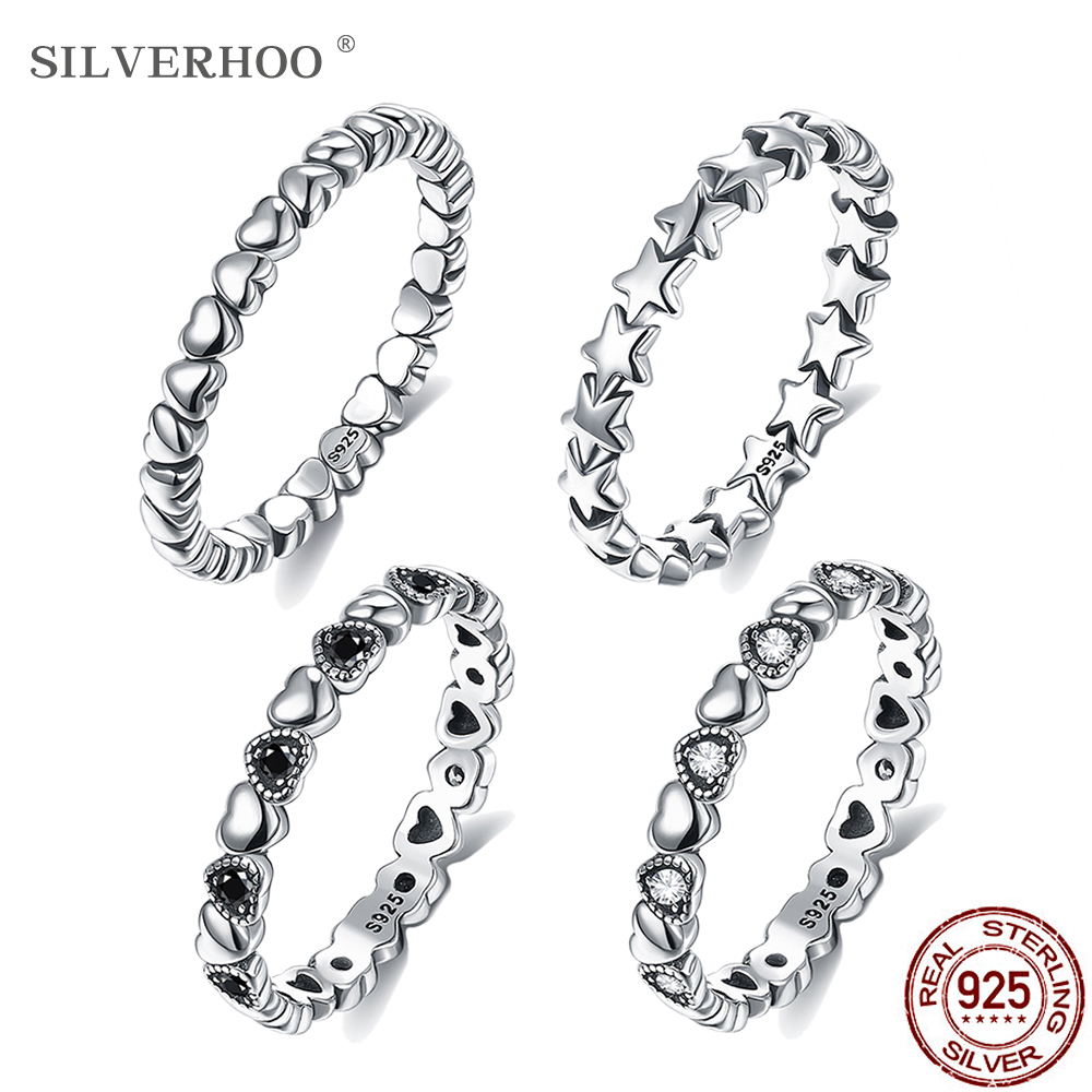SILVERHOO Hot Sale 925 Sterling Silver Rings for Women 5 Styles Stackable Party Finger Ring For Girl Original Fine jewelry Gift