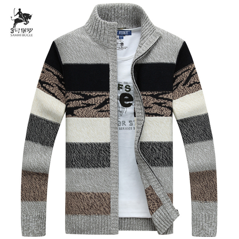 Men's New Autumn/winter Striped Commercial Casual Stand Neck Cardigan With Cashmere And Thickening Ply-size Sweater