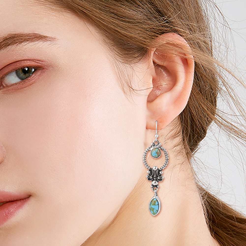 Indian Tribal Personality Natural Dangle Drop Earrings Resin Stone Boho Ethnic Vintage Hanging Earrings 2019 for Women 2