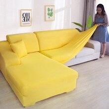 מוצק צבע פינת ספה מכסה לסלון אלסטי ספנדקס כיסויים ספה כיסוי למתוח ספה מגבת L צורת צריך לקנות 2 חתיכה