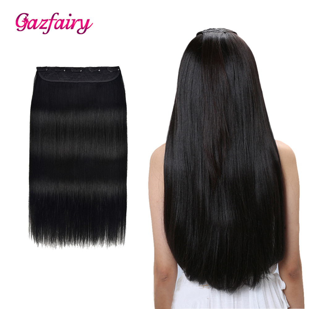 Gazfairy  Remy Hair 14'' 70g  Clip In One Piece Human Hair Extension 5 Clips Set  Natural Straight Style Hair One Piece Clip Ins