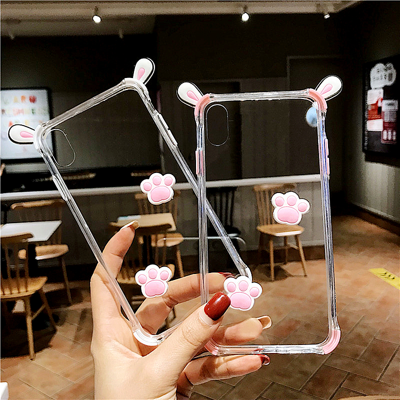 Cat claw Phone Case For iPhone 6 7 8 X XR XS Max manual 3D Cute Cartoon ear Transparent Soft Silicone Anti-fall Cover