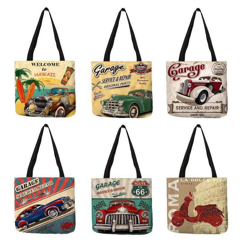 Fashion Cool Women Shoulder Bag Hawaii Car Garage Prints Totes Eco Linen Ladies Girls Shopping School Reusable Handbags