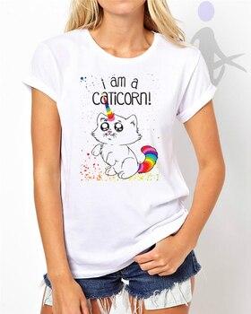 Camiseta de mujer con estampado de Caticorn Swag Teen Hipster regalos tumbl Dtg W20 Harajuku