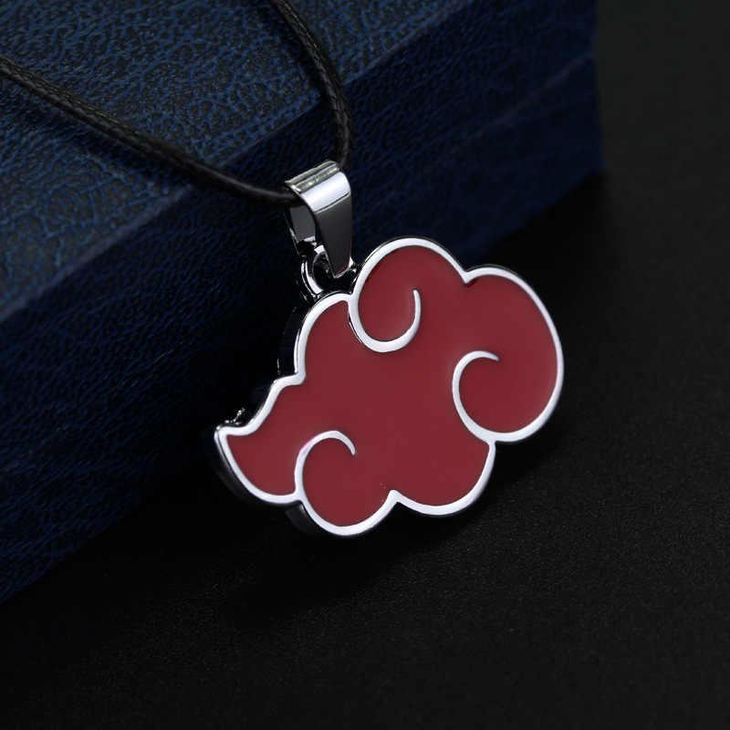 Anime Cartoon Naruto Akatsuki Red Cloud Logo Halskette Uchiha Itachi Obito Metall Halsketten Anhänger Für Fans Abbildung Spielzeug Puppe Geschenk