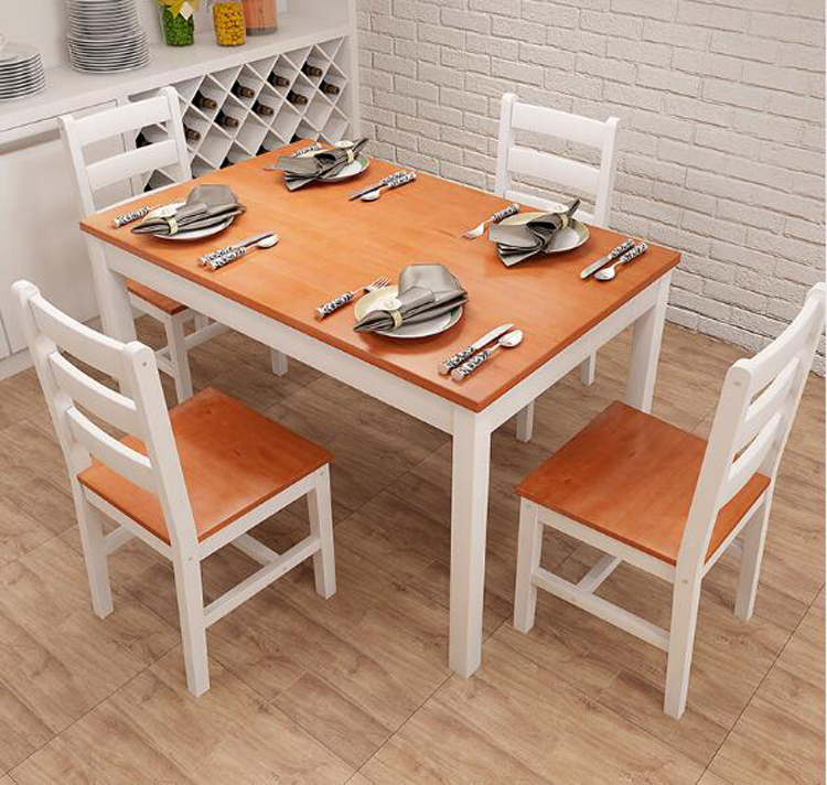 Solid Wood Dining Table стол обеденный Combination Dining Table Chair Set 1 Piece Dining Table 4 Pieces Chairs Set