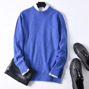 Image 5 - Suéter de cachemira auténtico de otoño e invierno para hombre, Jersey de punto de manga larga con cuello redondo holgado informal de 100% para hombre, suéter de tejer al fondo