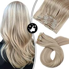Hair-Extensions Human-Hair Clip-In Seamless-Machine Natural Straight Ash PU Highlight