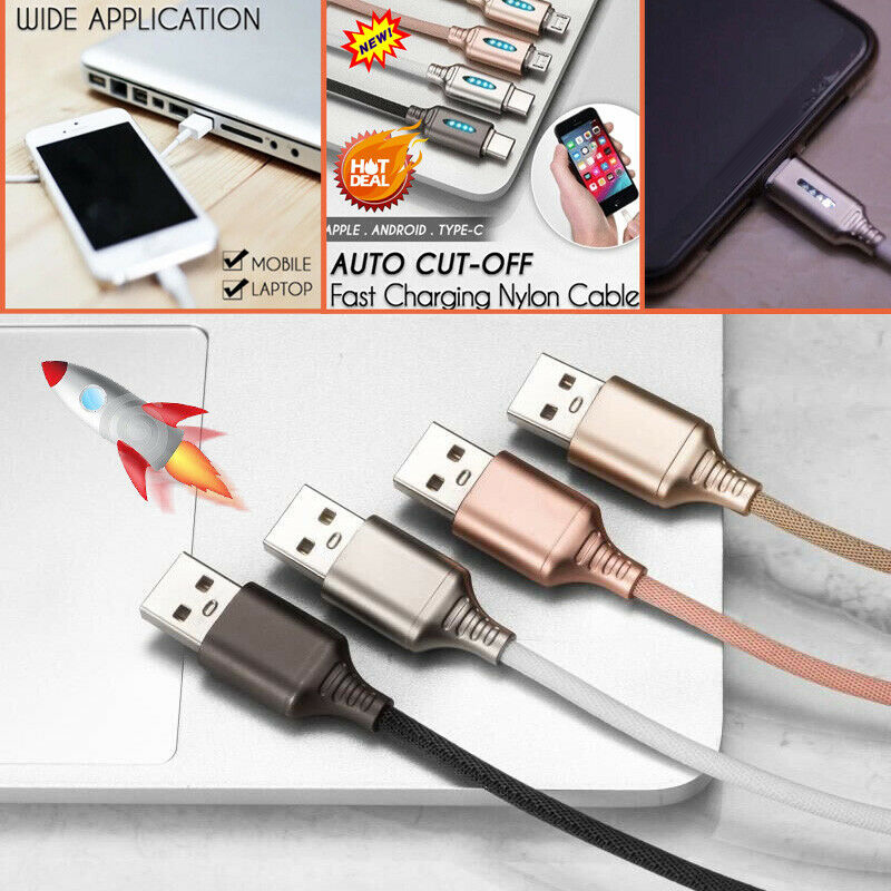 Auto CUT Type C Micro USB Quick Charger Mobile Phone USB Data Cord Cable Fast Charging Cable for Samsung Huawei Xiaomi ZTE TSFH