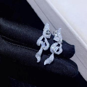 ribbon or bowknot earring long earring 925 sterling silver with cubic zircon fashion women jewelry free shipping