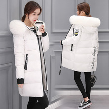 Осенняя и зимняя новая стильная женская куртка-пуховик средней длины в Корейском стиле, приталенный, с меховым воротником, с капюшоном, на молнии, с цветочным принтом
