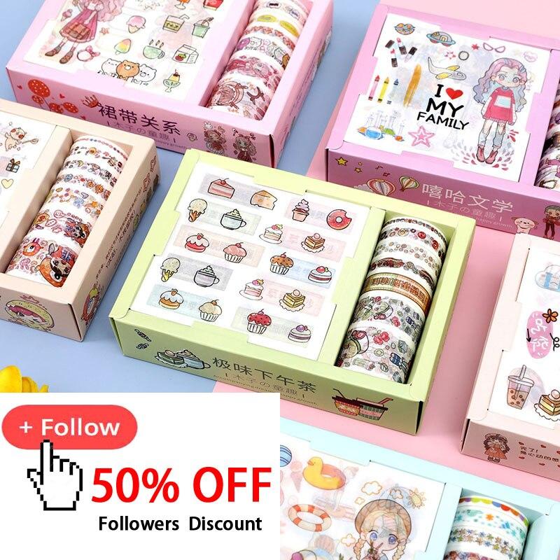 7+9Pcs/Set Cute Cartoon Washi Tape Kawaii Masking Tape Decor Adhesive Stickers For Kids Scrapbooking DIY Supplies Stationery