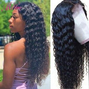 360 peruca frontal do laço onda profunda perucas de cabelo humano brasileiro para as mulheres negras pré arrancadas cor natural remy mslove