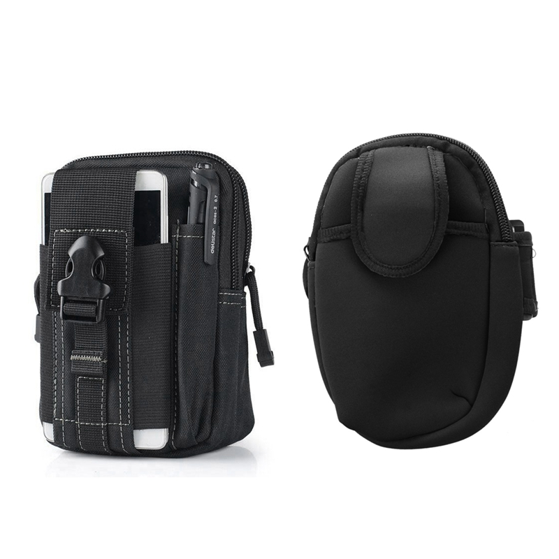 1Pcs Outdoor Molle Waist Pack Utility Phone Pouch Bag Waterproof Sports Bag & 1Pcs Sports Running Wrist Pouch Mobile Cell Phone