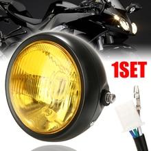 For Honda 1PC 6.5 Black Retro Motorcycle LED Headlight W/ Grill Cover Set Cafe Racer Hi/ Lo Beam Lamp Metal Body Glass Lens