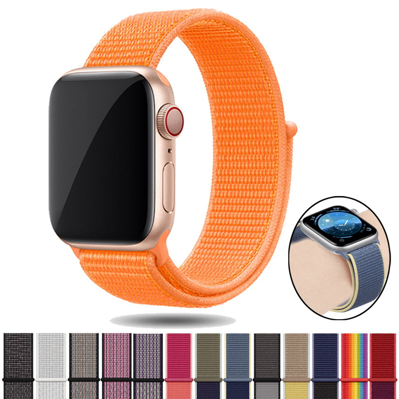 Nylon Strap For Apple Watch 5 4 3 2 1 Band Nylon Bracelet For Correa Apple Watch 42 44 38 40 Mm Watch Accessories Sport Strap