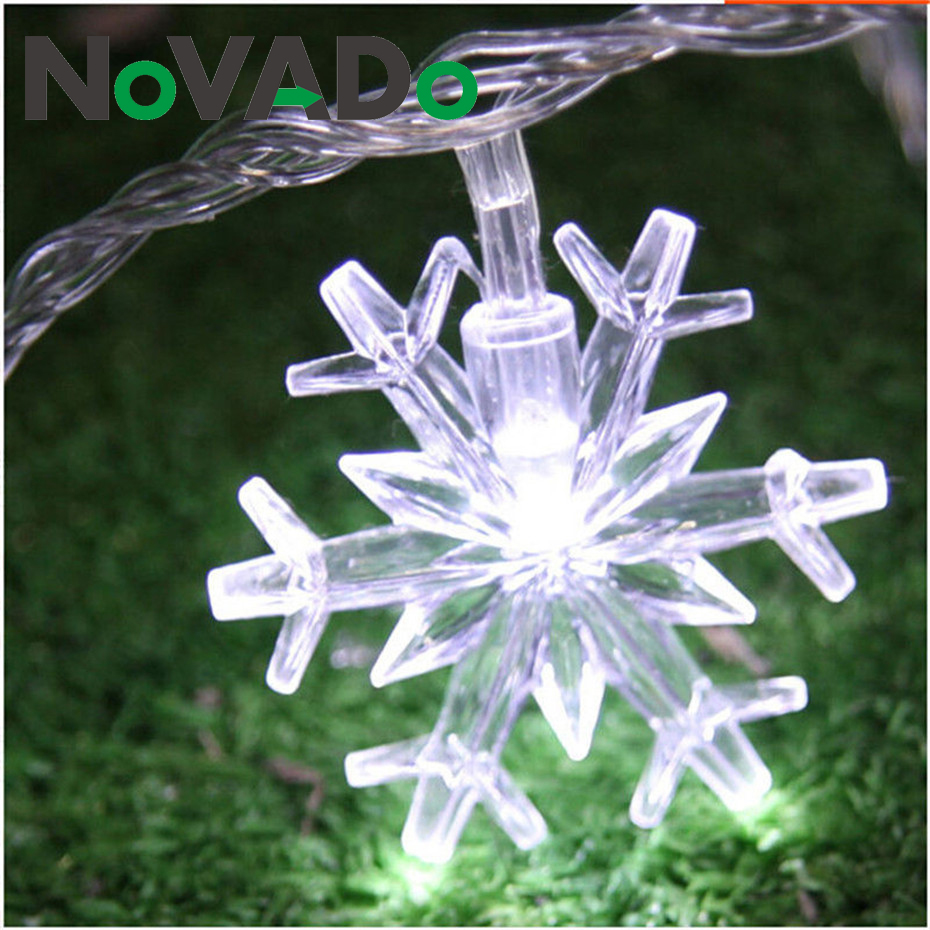 2pcs LED Snowflake String Lights Snow Fairy Garland Decoration For Christmas Trees Room Valentine's Day Battery Plug Operated