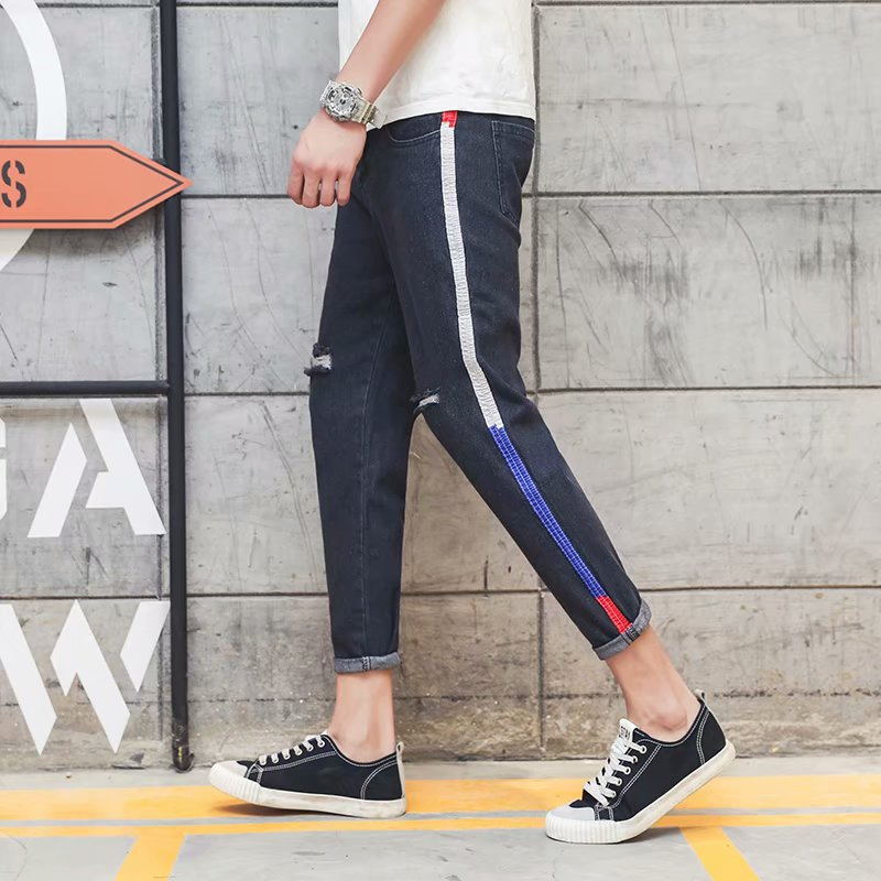 Summer Beggar With Holes Jeans Men Korean-style Trend Slim Fit Capri Skinny Elasticity Pants Men's Casual Popular Brand
