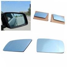 1Pair ABS+ Aluminized Sides Blue Heated Electric Wings Mirror Glass Wide-angle Design Affordable For BMW 5 E60 / E61 03-09