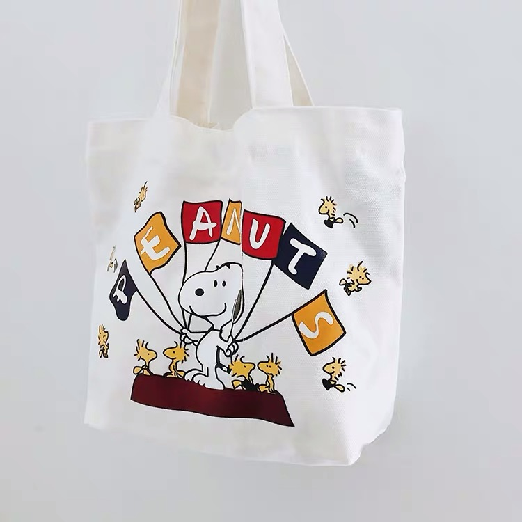 Peanuts Snoopy Cartoon Kawaii Canvas Tote Bag Fashion Shoulder Bag Concise Shoulder Cloth Bags Ladies Duty Cotton Shopping Bags