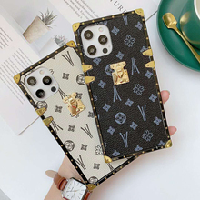 Luxury Brand Square Flower Vintage PU Leather Soft Phone Case For Huawei P30 lite P20 P40 Pro Honor 8X 9X Y9 2019 Fashion Cover